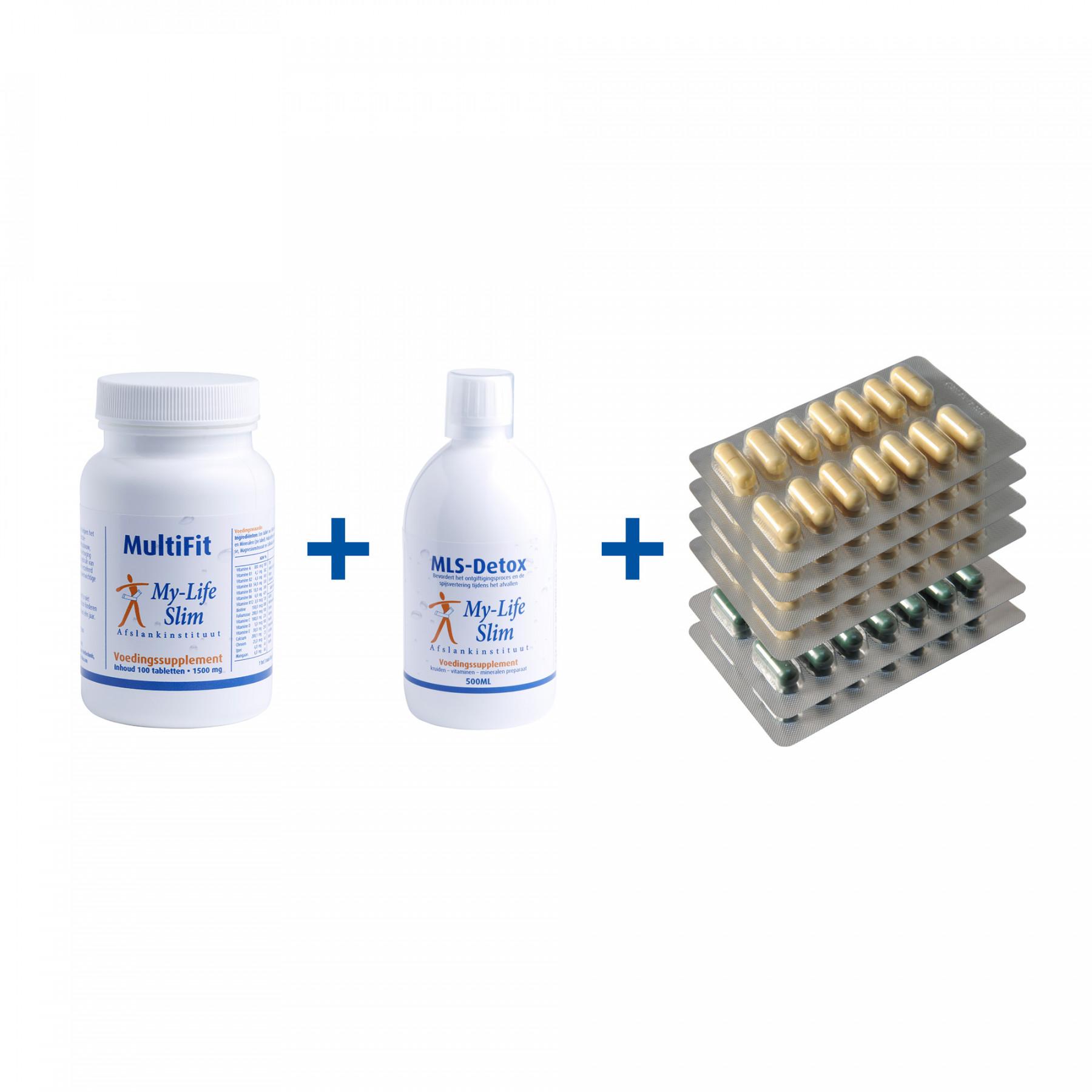 Startpakket BMI 29 of lager, 4 strips Restore + 2 strips Psyllium voor 2 weken, MultiFit-Forte, MLS-Detox