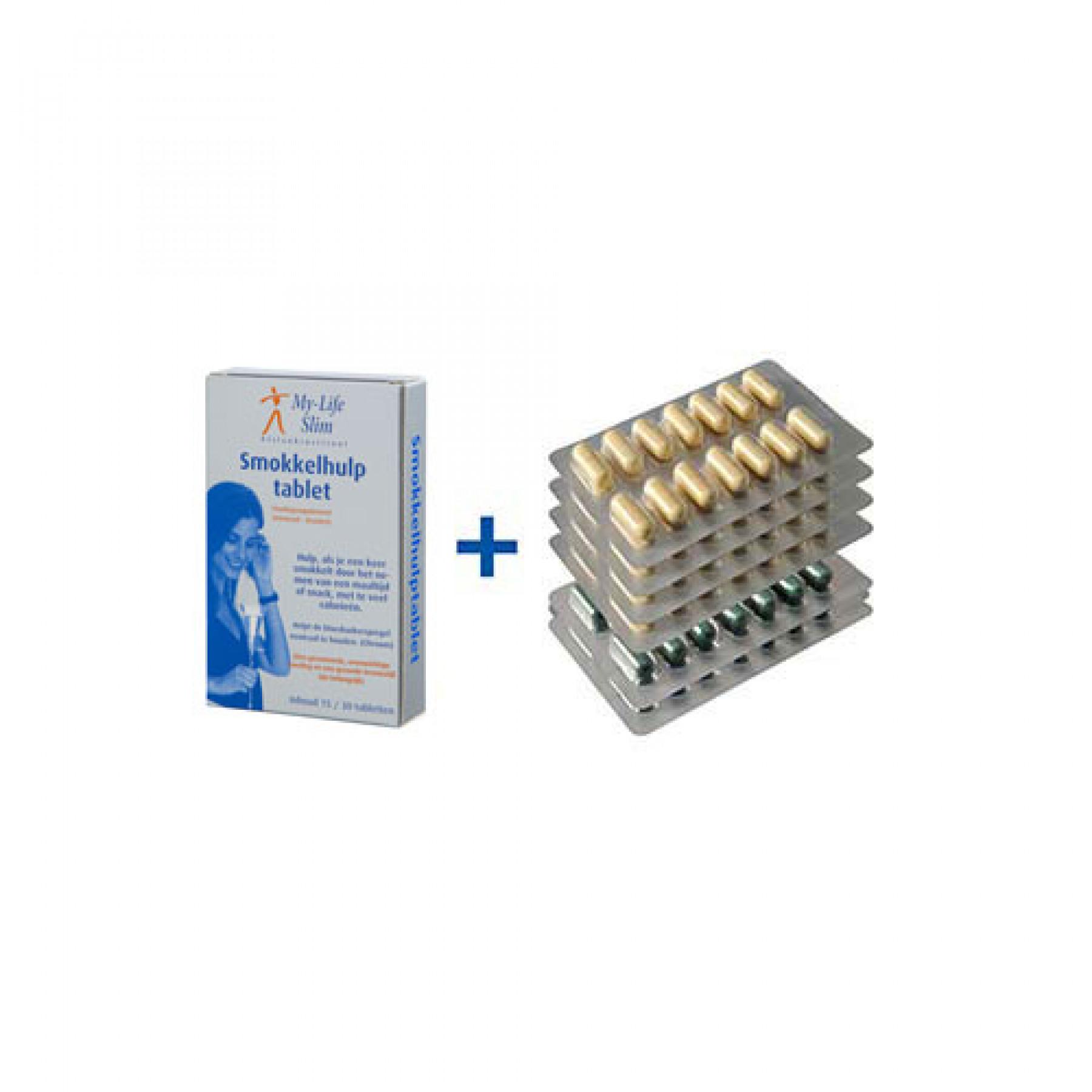 Homeset Plus BMI 29 of lager, 4 strips Restore + 2 strips Psylium voor 2 weken, 15 tabletten Smokkelhulptablet