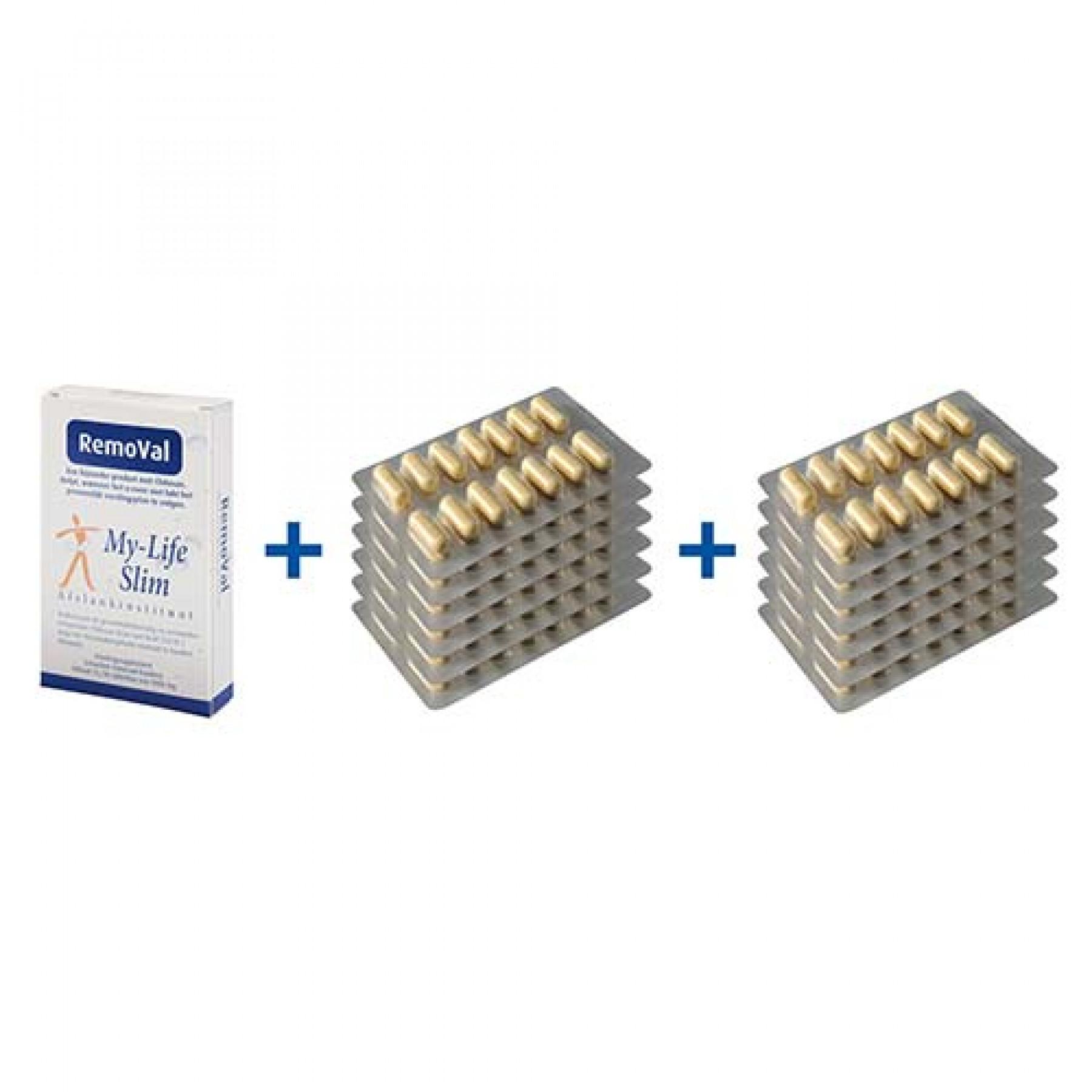 Vakantiepakket BMI 30 of hoger, 12 strips Restore voor 4 weken, 30 tabletten RemoVal (smokkelpil)