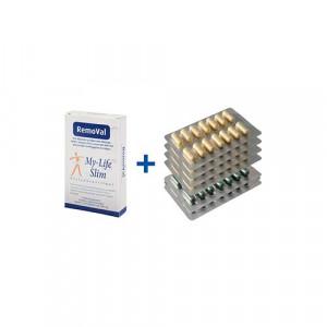 Homeset Plus BMI 29 of lager, 4 strips Restore + 2 strips Psylium voor 2 weken, 15 tabletten RemoVal (smokkelpil)