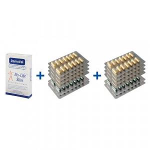Vakantiepakket BMI 29 of lager, 8 strips Restore + 4 strips Psylium voor 4 weken, 30 tabletten RemoVal (smokkelpil)