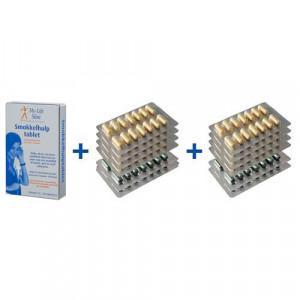 Vakantiepakket BMI 29 of lager, 8 strips Restore + 4 strips Psylium voor 4 weken, 30 tabletten Smokkelhulptablet